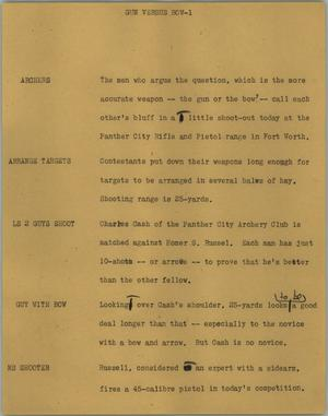 Primary view of object titled '[News Script: Gun versus bow]'.