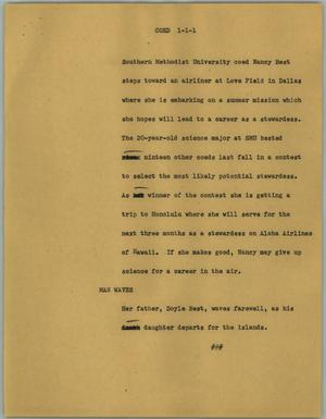 Primary view of object titled '[News Script: Coed]'.