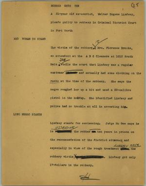 Primary view of object titled '[News Script: Robber gets ten]'.