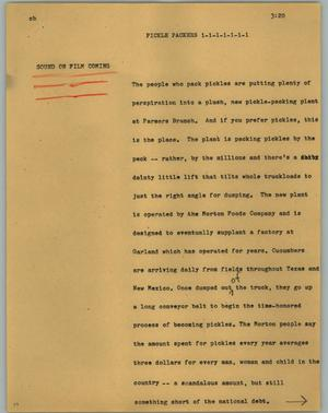 Primary view of object titled '[News Script: Pickle packers]'.