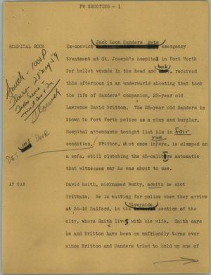 Primary view of object titled '[News Script: FW shooting]'.