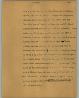 Primary view of object titled '[News Script: Savannah]'.