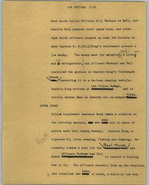 Primary view of object titled '[News Script: Cop retires]'.