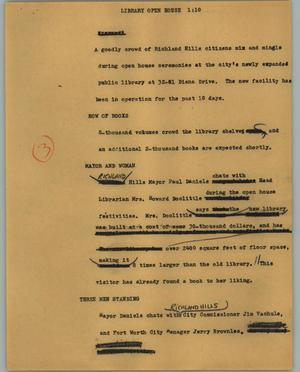 Primary view of object titled '[News Script: Library open house]'.