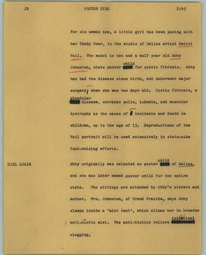 Primary view of object titled '[News Script: Poster girl]'.