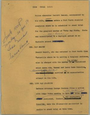 Primary view of object titled '[News Script: Thug trial]'.