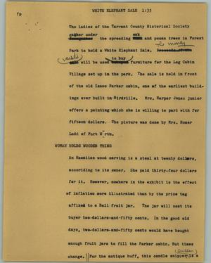 Primary view of object titled '[News Script: White elephant sale]'.
