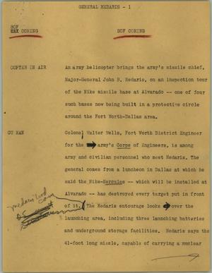Primary view of object titled '[News Script: General Medaris]'.