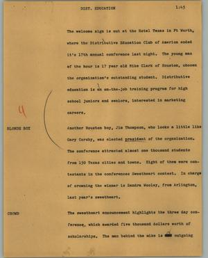 Primary view of object titled '[News Script: Dist. Education]'.