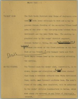 Primary view of object titled '[News Script: Flood talk]'.