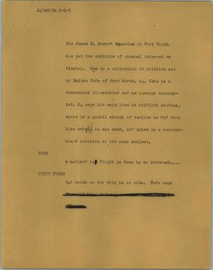 Primary view of object titled '[News Script: Aquarium]'.
