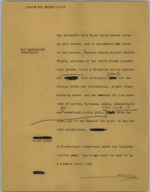 Primary view of object titled '[News Script: Parade and holdup]'.