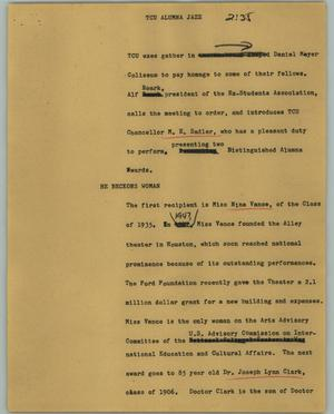 Primary view of object titled '[News Script: TCU alumna jazz]'.