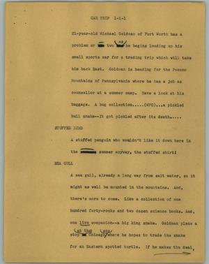 Primary view of object titled '[News Script: Car trip]'.
