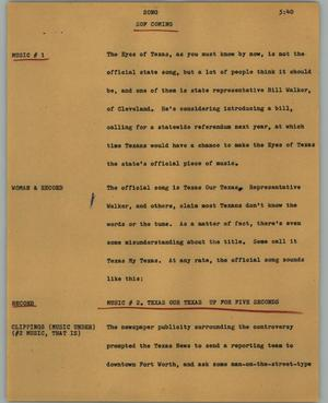 Primary view of object titled '[News Script: Song]'.