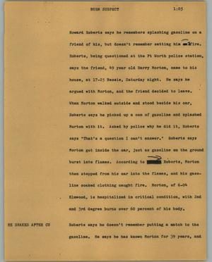 Primary view of object titled '[News Script: Burn suspect]'.
