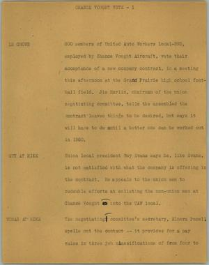 Primary view of object titled '[News Script: Chance Vought vote]'.