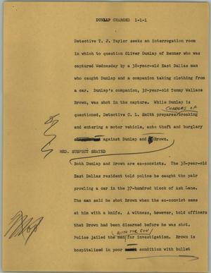 Primary view of object titled '[News Script: Dunlap charged]'.