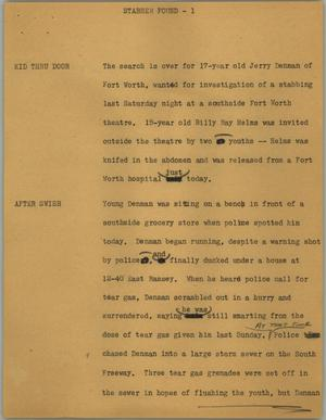 Primary view of object titled '[News Script: Stabber found]'.