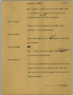 Primary view of object titled '[News Script: Burglars sentenced]'.