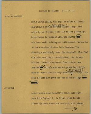 Primary view of object titled '[News Script: Charges in killing]'.