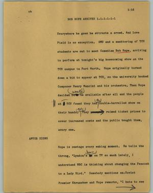 Primary view of object titled '[News Script: Bob Hope arrives]'.