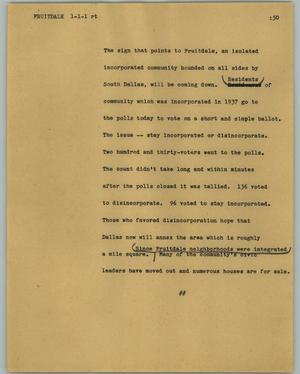 Primary view of object titled '[News Script: Fruitdale]'.