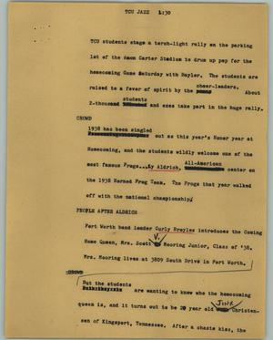 Primary view of object titled '[News Script: TCU jazz]'.
