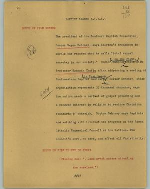 Primary view of object titled '[News Script: Baptist leader]'.