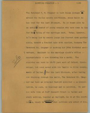 Primary view of object titled '[News Script: Marrying preacher]'.