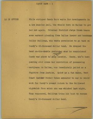Primary view of object titled '[News Script: Candy Barr]'.