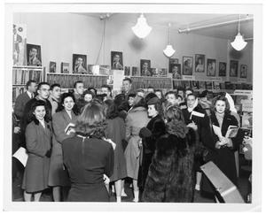 [Kenton at record store with fans]