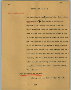 Primary view of object titled '[News Script: Little Lynn]'.