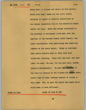 Primary view of object titled '[News Script: Youth]'.