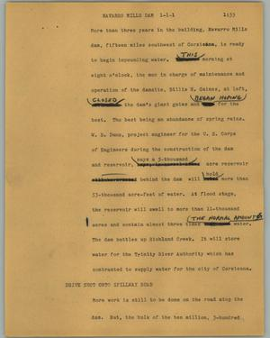 Primary view of object titled '[News Script: Navarro Mills dam]'.
