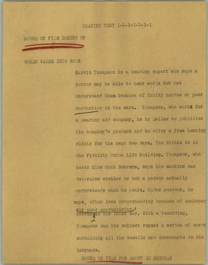 Primary view of object titled '[News Script: Hearing test]'.