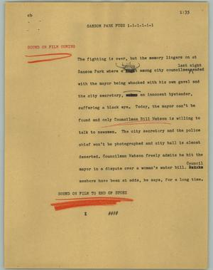 Primary view of object titled '[News Script: Sansom Park Fuss]'.