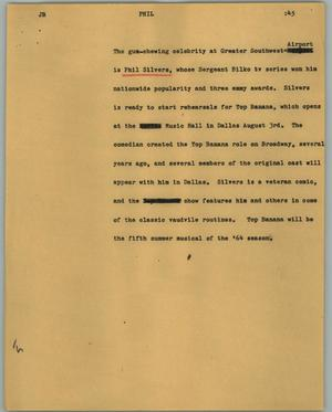 Primary view of object titled '[News Script: Phil]'.