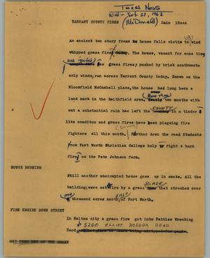 Primary view of object titled '[News Script: Tarrant county fires]'.