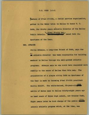 Primary view of object titled '[News Script: P. C. Cobb]'.