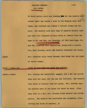 Primary view of object titled '[News Script: Crawford robbery]'.