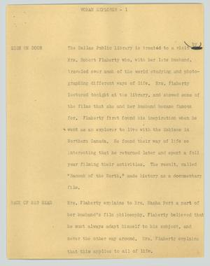 Primary view of object titled '[News Script: Woman explorer]'.