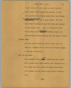 Primary view of object titled '[News Script: Hotel fire]'.