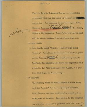 Primary view of object titled '[News Script: Pets]'.