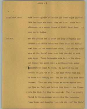 Primary view of object titled '[News Script: Arson]'.