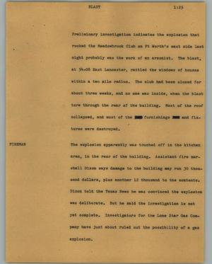 Primary view of object titled '[News Script: Blast]'.