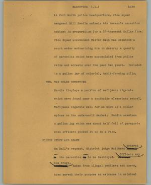 Primary view of object titled '[News Script: Narcotics]'.