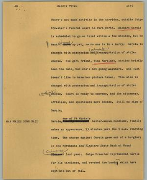 Primary view of object titled '[News Script: Garcia trial]'.