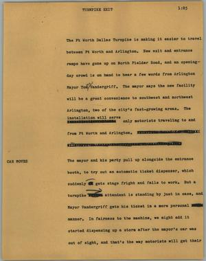Primary view of object titled '[News Script: Turnpike exit]'.