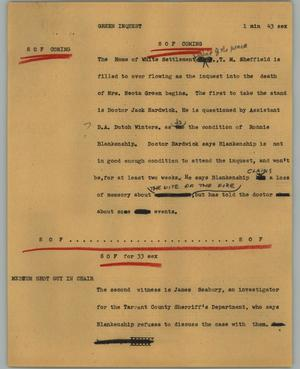 Primary view of object titled '[News Script: Green inquest]'.